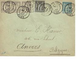 DAGUIN Jumelée TROYES 1897 Triple Frappe Timbré Sur Cde + Complément Belgique Convoyeur Paris Valenciennes     M5 - Mechanical Postmarks (Other)