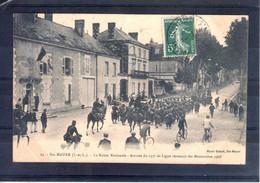 37. Ste Maure. Grandes Manoeuvres Du Centre 1908. Arrivée Du 135e De Ligne à Loches. Route Nationale - Maniobras