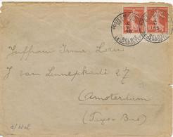 """Semeuse 138 Paire CARNET """" POSTES MILITAIRES BELGIQUE 4/5/15 """" Bureau Centralisateur CALAIS  Lettre > Amsterdam Pays Bas - 1. Weltkrieg 1914-1918"""