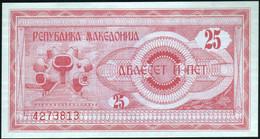 ♛ MACEDONIA - 25 Denari 1992 {Narodna Banka Na Makedonija} AU-UNC P.2 - Macedonië