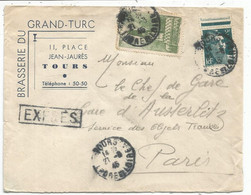 ARRAS 10FR +2FR GANDON LETTRE EXPRES TOURS INDRE ET LOIRE 27.8.1945 + TOURS GARE AU DOS POUR PARIS  AU TARIF - 1921-1960: Periodo Moderno
