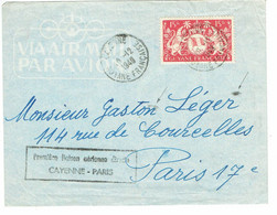 DAGUIN CAYENNE GUYANNE 1ère Liaison Aérienne CAYENNE PARIS 2 Frappes Isolées Traces Foulages    M13 - Annullamenti Meccaniche (Varie)