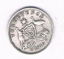3 PENCE 1910 AUSTRALIE /8822/ - Threepence