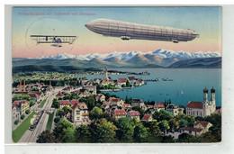 AVIATION #18134 BALLON DIRIGEABLE FRIEDRICHSHAFEN MIT LUFTSCHIFF UND AEROPLAN CACHET MILITAIRE STRASBURG - Luchtschepen