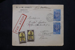 CÔTE D'IVOIRE - Enveloppe à Entête De Abidjan Pour Paris En 1933 Par Avion Via Dakar - L 75287 - Briefe U. Dokumente