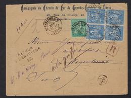 Cie Du Chemin De Fer De La Grande Ceinture De Paris,Recommandé,Retour à L'Envoyeur,Aff 65 C Type Sage N°75-90 - 1877-1920: Semi-moderne Periode