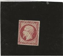 TIMBRE N° 17 A - 80 C CARMIN OBLITERATION ROULETTE POINTILLE  - ANNEE 1854  COTE 80 € - Ttb - 1853-1860 Napoleone III