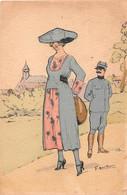 """¤¤  -     ILLUSTRATEUR  """" G. MOUTON """"  -   Femme,  Soldat  -  ¤¤ - Autres Illustrateurs"""