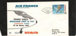 25-3--1972 PREMIÈRE LIAISON AÉRIENNE PAR BOEING 747 CARACAS PARIS - Eerste Vluchten