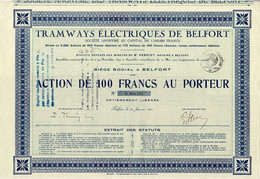 Titre Ancien - Tramways Electriques De Belfort - Titre De 1923 - N° 000164 - RARE - Railway & Tramway