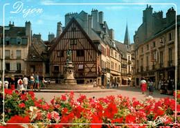 3988 Carte Postale DIJON  Place François Rudé Et La Fontaine Du Bareuzai à Droite Rue Des Forges  21 Côte D'Or - Dijon