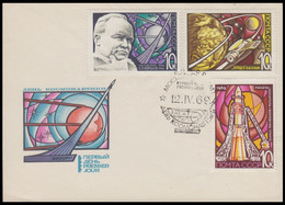 RUSSIA 1969 COVER Used FDC Mi 3605-07 SPACE ESPACE MISSILE ROCKET Korolev FIRST SATELLITE SPUTNIK USSR 3654-56 - Russia & USSR