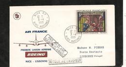 3-4-1968 PREMIÈRE LIAISON AÉRIENNE PAR BOEING NICE LISBONNE - Eerste Vluchten
