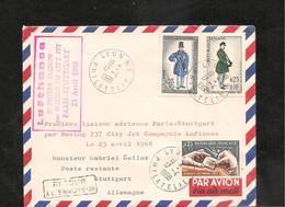 23-4-1968 PREMIÈRE LIAISON AÉRIENNE PAR BOEING 737 PARIS STUTTGART - Eerste Vluchten