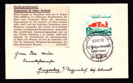 DR Brief  HELGOLAND - Hengersberg - 9.8.40 - Mi.750- SST 50 Jahre Deutsch 1890-1940 - Brieven En Documenten