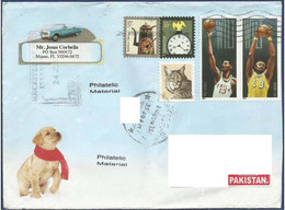 USA UNITED STATES OF AMERICA POSTAL USED AIRMAIL COVER TO PAKISTAN SPORTS GAMES CAT ANIMAL ANIMALS - America (Other)