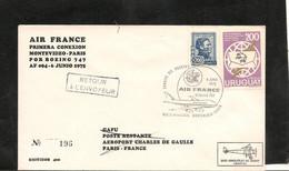 6-6-1975 PREMIÈRE LIAISON AÉRIENNE PAR BOEING 747 MONTEVIDEO PARIS - Eerste Vluchten