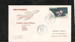 5-4-1972 PREMIÈRE LIAISON AÉRIENNE PAR BOEING 747  PARIS BOMBAY - Eerste Vluchten