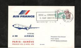 2-4-1979 PREMIÈRE LIAISON AÉRIENNE  PAR AIRBUS 300 PARIS GENÈVE - Eerste Vluchten