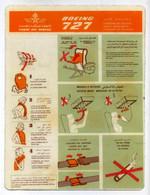 Document De Bord. Consignes De Sécurité Cabine, Aviation. Royal Air Maroc. Boeing 727. Voir 2 Images - Unclassified