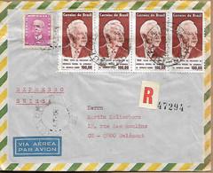 BRAZIL 1965 REGISTERED COVER SENT TO DELEMONT 5 STAMPS COVER USED - Cartas