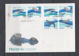 Sweden 2010 Mi 2754-7 FDC Mammals Of Sea,Joint Issue With Canada - Non Classificati