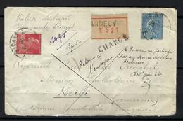 """FRANCE 1930: LSC Chargée D'Annecy Pour L'A.E.F. Avec Les Y&T 111,233 Et Obl. CAD Et """"Retour à L'Envoyeur"""" à La Main - Brieven En Documenten"""