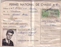 PERMIS NATIONAL DE CHASSE 1968    - MASSAT (Ariège) - Jacht