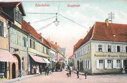Allemagne Edenkoben Hauptstrasse Cpa Carte Animée Rue Magasins Commerces - Edenkoben