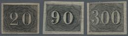 Brasilien: 1850, 20 R. Black, 90 R. Black And 300 R. Black, Three Mint Hinged Stamps, 20 R. No Gum, - Neufs