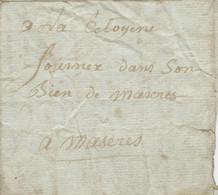 Révolution, An 2, Lettre Au Porteur Pour La Citoyenne Fournex à Mazères , 09,3l, Dombreuil Demande Du Pain, Famlne - 1701-1800: Precursori XVIII