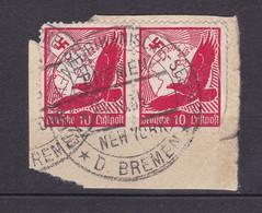 Deutsches Reich - 1934 - Flugpost - Michel Nr. 530 Paar Mit BREMEN - NEW YORK Stempel - Briefst. - Used Stamps
