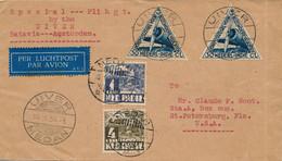 Nederlands Indië - 1934 - 4 Zegels Op Special Flight UIVER/MEDAN Naar St Petersburg / USA - Nederlands-Indië
