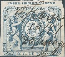 Puerto Rico-Portorico, Spanish Revenue Stamp,1896-97 Facturas Principales Cabotaje,5c.De Peso,Used - Porto Rico