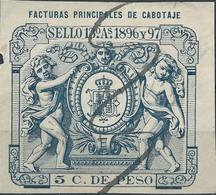 Puerto Rico-Portorico, Spanish Revenue Stamps,1896-97 Facturas Principales Cabotaje,5c.De Peso,Used - Porto Rico