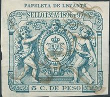 Puerto Rico-Portorico, Spanish Revenue Stamps,1896-97 Papeleta De Levante 5c.De Peso,Used - Porto Rico