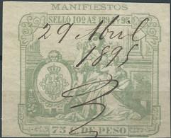 Puerto Rico-Portorico, Spanish Revenue Stamps,1894-95 Manifiestos 75c.De Peso,Used - Porto Rico