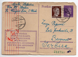 12.02.1944. WWII GERMANY,AUSTRIA,VIENNA TO BELGRADE,CENSORED,POW STATIONERY CARD,USED - Cartas