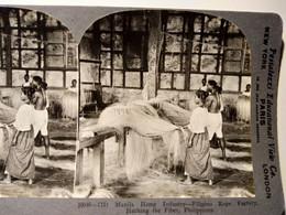 PHOTO STÉRÉO - Philippines - Usine De Cordages - Industrie à Manille -  - Ed. Keystone  1906 TBE - Fotos Estereoscópicas
