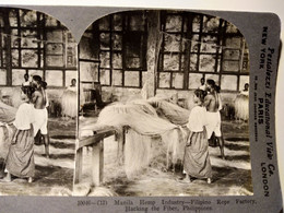 PHOTO STÉRÉO - Philippines - Usine De Cordages - Industrie à Manille -  - Ed. Keystone  1906 TBE - Stereoscoop