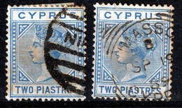 CYPRUS  QV   WMK  CA  2 PIASTRES  2 X   USED - Chipre (...-1960)