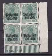 Postgebiet Oberbefehlshaber Ost - 1916/18 - Michel Nr. 3 B HAN A Viererblock - Postfrisch/Ungebr. - 250 Euro - Bezetting 1914-18