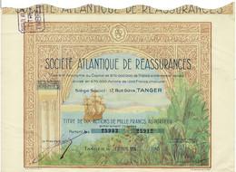 Titre Ancien - Société Atlantique De Réassurances - Société Anonyme  - Titre De 1954 - Déco - - Africa