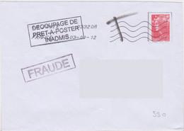 Griffe 1 Ligne FRAUDE En Encadré + Griffe 3 Lignes DECOUPAGE DE PRET A POSTER INADMIS - Lettere Tassate