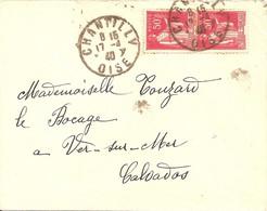 Chantilly (Oise) Daguin Borgne Avec Foulage Visible - Mechanical Postmarks (Other)