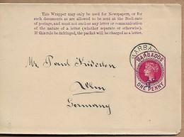 BARBADOS 1894 PREPAID NEWSPAPER WRAPPER SENT TO BAHNHOF TWO NICE POSTMARKS, WRAPPER USED - Barbados (...-1966)