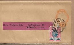 BRAZIL 1893 PREPAID NEWSPAPER WRAPPER +1 STAMP SENT TO ZURICH WRAPPER USED - Non Classés