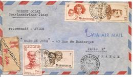 Lettre Recommandée De Soavinandriana-Itasy Le 5 FEVR 51 Pour Paris Avec YT306-YT308-YT 313 Et YT318 - Brieven En Documenten