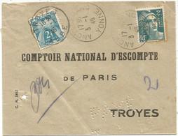 GANDON 2FR PERFORE PERFORE CN ANCY LE FRANC 3.1.1946 LETTRE POUR COMPTOIR NATIONAL PARIS  TROYES + TAXE 2FR TROYES - 1945-54 Marianne De Gandon