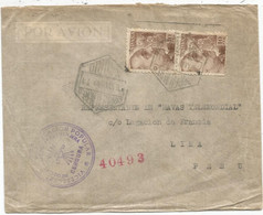 ESPANA 10PTS PAIRE LETTRE COVER AVION CORREA AEREO 1942 TO LIMA PERU + CENSURA CG EXENTA EXTRANJERA - 1931-50 Storia Postale